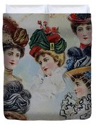 19 Century Ladies Hats The Delineator Early Autumn Hats Duvet Cover