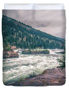 Kootenai River Water Falls In Montana Mountains Duvet Cover
