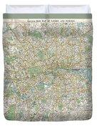1900 Bacon Pocket Map Of London England  Duvet Cover