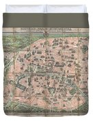 1900 Garnier Pocket Map Or Plan Of Paris France  Eiffel Tower And Other Monuments  Duvet Cover