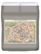 1900 Garnier Pocket Map Or Plan Of Paris France Eiffel Tower  Duvet Cover