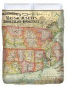 1900 National Publishing Railroad Map Of Connecticut Massachusetts And Rhode Island  Duvet Cover