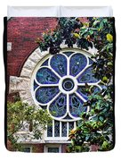1901 Antique Uab Gothic Stained Glass Window Duvet Cover by Kathy Clark