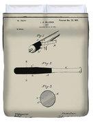 1902 Baseball Bat Patent In Aged Gray Duvet Cover