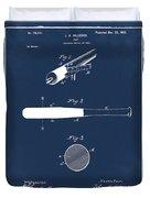 1902 Baseball Bat Patent In Blue Duvet Cover