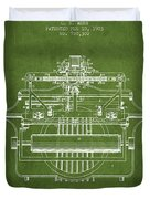 1903 Type Writing Machine Patent - Green Duvet Cover