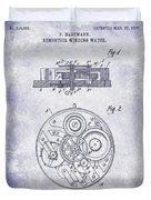 1908 Pocket Watch Patent Blueprint Duvet Cover