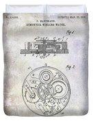 1908 Pocket Watch Patent  Duvet Cover