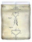 1909 Cork Extractor Patent Duvet Cover