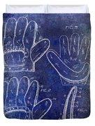 1910 Baseball Glove Patent Blue Duvet Cover
