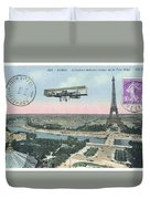 1911 Paris Eiffel Tower Colorized Postcard Duvet Cover