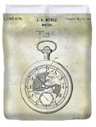 1916 Pocket Watch Patent Duvet Cover