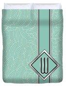 1920s Blue Deco Jazz Swing Monogram ...letter W Duvet Cover
