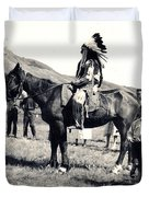 1920s Native And Crowd Duvet Cover