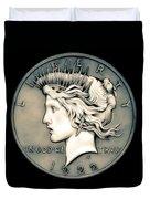 1922 Ghost Peace Dollar Duvet Cover