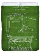 1923 Typewriter Screen Patent - Green Duvet Cover
