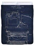 1923 Typewriter Screen Patent - Navy Blue Duvet Cover