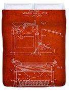 1923 Typewriter Screen Patent - Red Duvet Cover