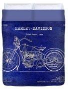 1928 Harley Davidson Patent Drawing Blue Duvet Cover