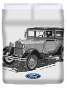 1928 Model A Ford 2 Dr Sedan Duvet Cover by Jack Pumphrey