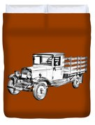 1929 Chevy Truck 1 Ton Stake Body Drawing Duvet Cover