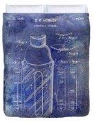 1930 Cocktail Shaker Patent Blue Duvet Cover