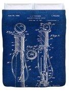 1930 Gas Pump Patent In Blue Duvet Cover
