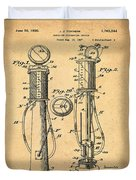 1930 Gas Pump Patent In Sepia Duvet Cover