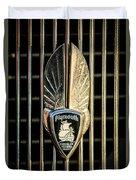 1934 Plymouth Emblem Duvet Cover by Jill Reger