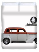 1935 Plymouth With Insignia Duvet Cover