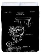 1936 Toilet Bowl Patent Black Duvet Cover