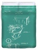 1936 Toilet Bowl Patent Green Duvet Cover