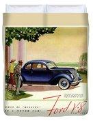 1937 Ford Car Ad Duvet Cover