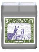 1939 Bolivia Llamas Postage Stamp Duvet Cover