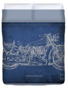 1939 Brough Superior Ss100 Blueprint Blue Background Duvet Cover