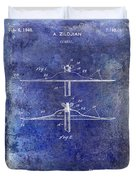 1940 Cymbal Patent Blue Duvet Cover