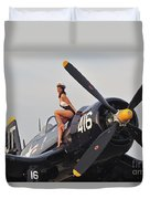 1940s Style Navy Pin-up Girl Sitting Duvet Cover
