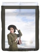 1940s Woman At The Seaside  Duvet Cover