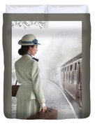 1940's Woman On A Railway Platform With Steam Train  Duvet Cover