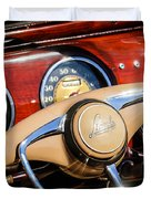 1941 Lincoln Continental Cabriolet V12 Steering Wheel Duvet Cover