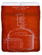 1944 Art Of Brewing Beer Patent - Red Duvet Cover
