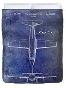 1949 Airplane Patent Drawing Blue Duvet Cover