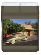 1950 Chevrolet Coupe In Front Of Portal Store Duvet Cover