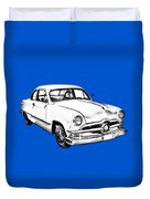 1950  Ford Custom Antique Car Illustration Duvet Cover