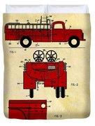 1950 Red Firetruck Patent Duvet Cover