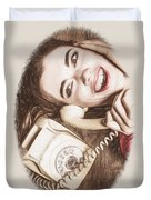1950s Pinup Girl Talking On Retro Phone Duvet Cover