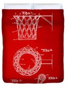 1951 Basketball Net Patent Artwork - Red Duvet Cover by Nikki Marie Smith