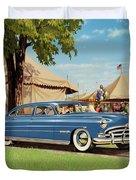 1951 Hudson Hornet - Square Format - Antique Car Auto - Nostalgic Rural Country Scene Painting Duvet Cover