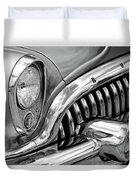 1953 Buick Chrome Bw Duvet Cover