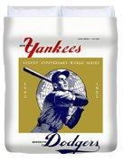1953 Yankees Dodgers World Series Program Duvet Cover
